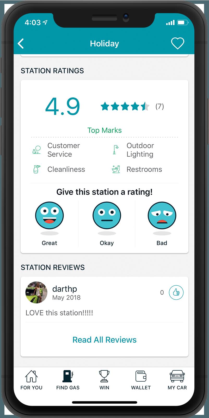 GasBuddy Ratings and Reviews Screenshot